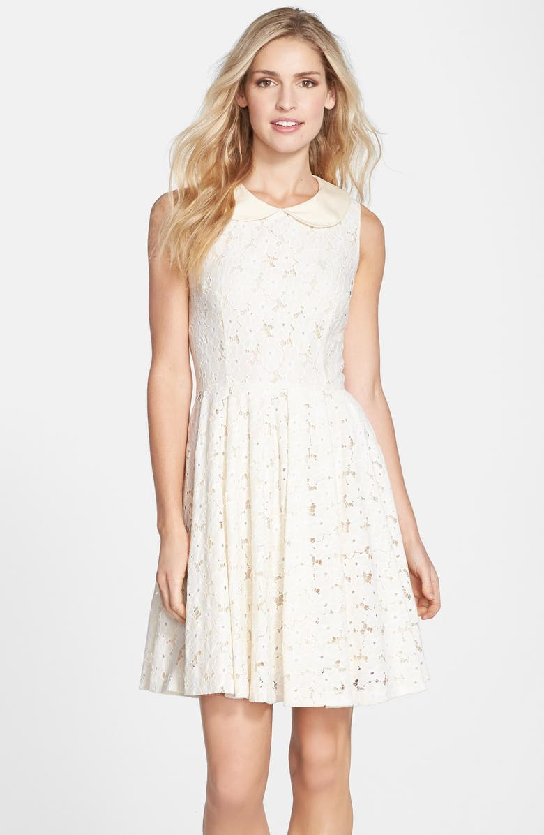 Betsey Johnson Peter Pan Collar Lace Fit Flare Dress