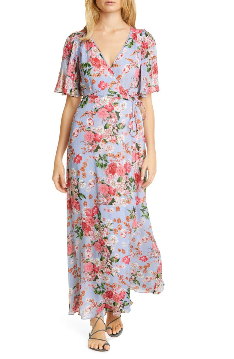BYTIMO Floral Wrap Maxi Dress, Main, color, BLUE DREAM