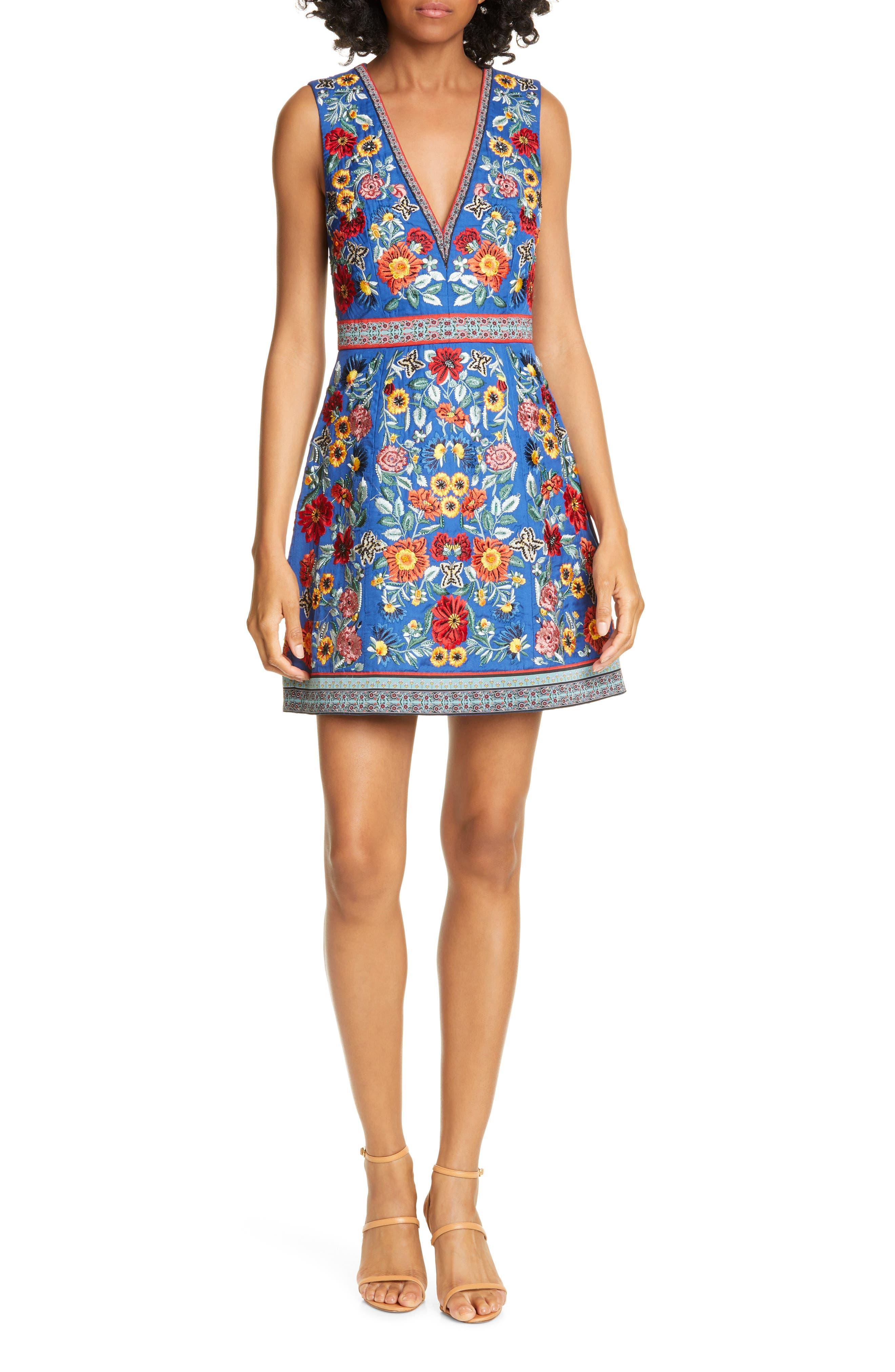 Alice + Olivia Patty Embroidered A-Line Dress, Blue