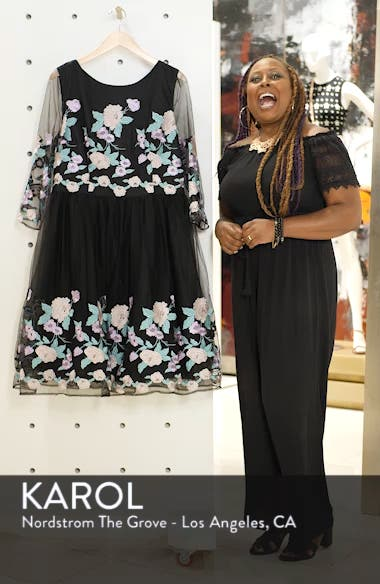 Embroidered Floral Fit & Flare Dress, sales video thumbnail