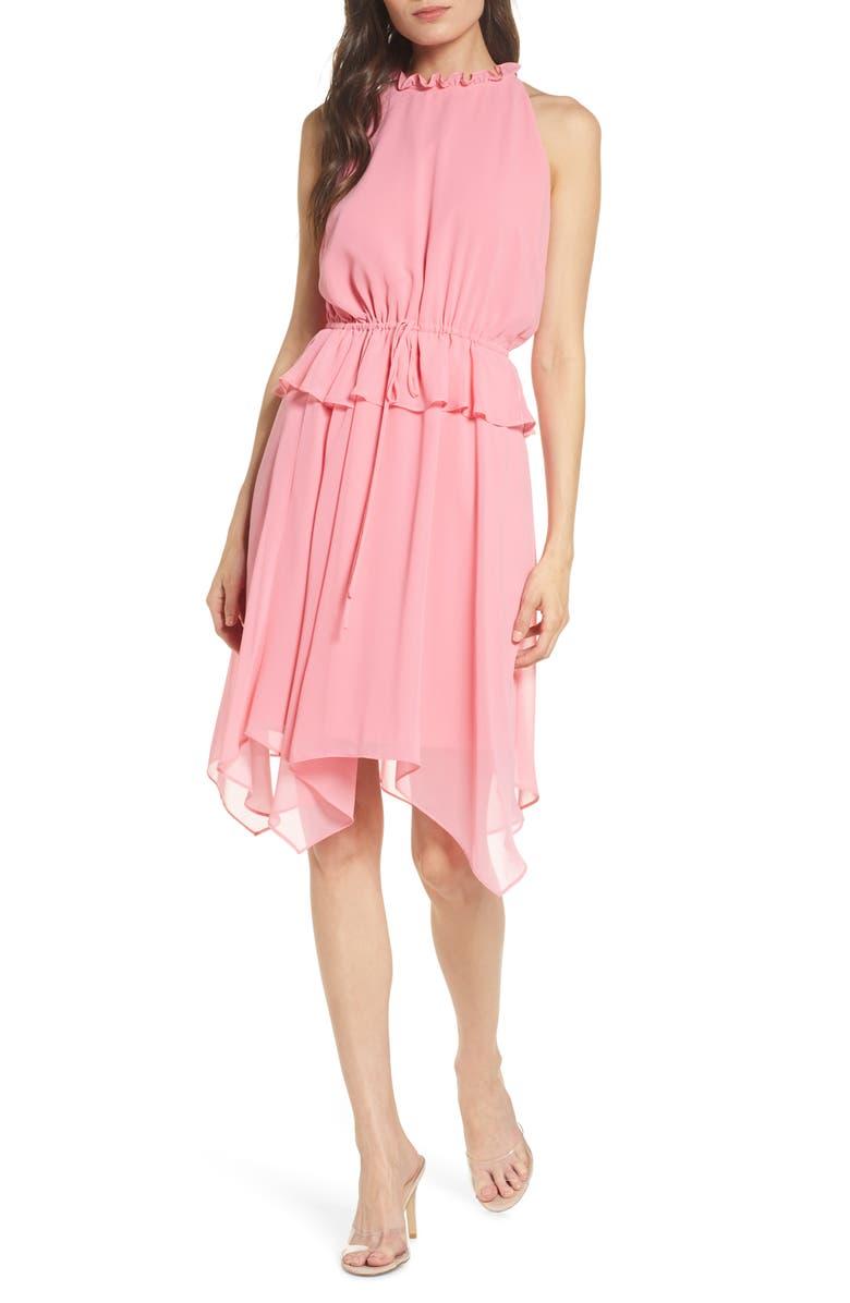SAM EDELMAN Peplum Chiffon Dress, Main, color, WATERMELON PUNCH