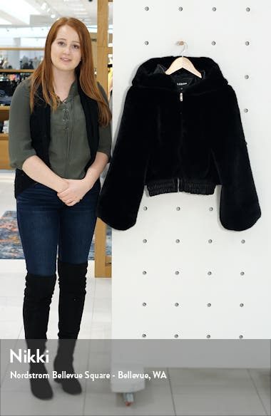 . Hooded Crop Faux Fur Jacket, sales video thumbnail