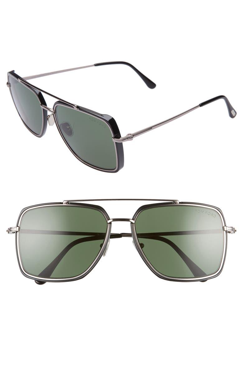 TOM FORD Lionel 60mm Square Aviator Sunglasses, Main, color, 040