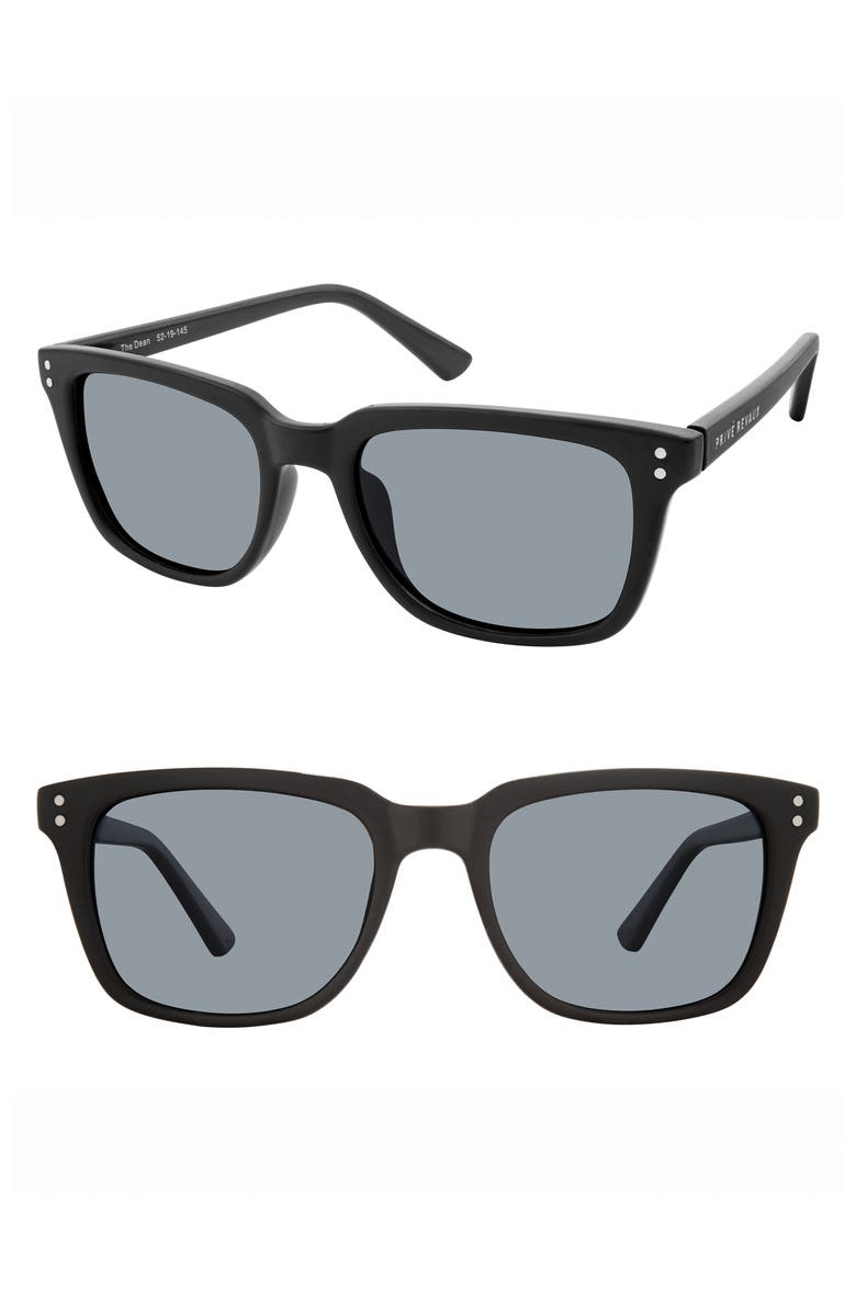 PRIVÉ REVAUX The Dean 52mm Polarized Sunglasses, Main, color, MATTE BLACK
