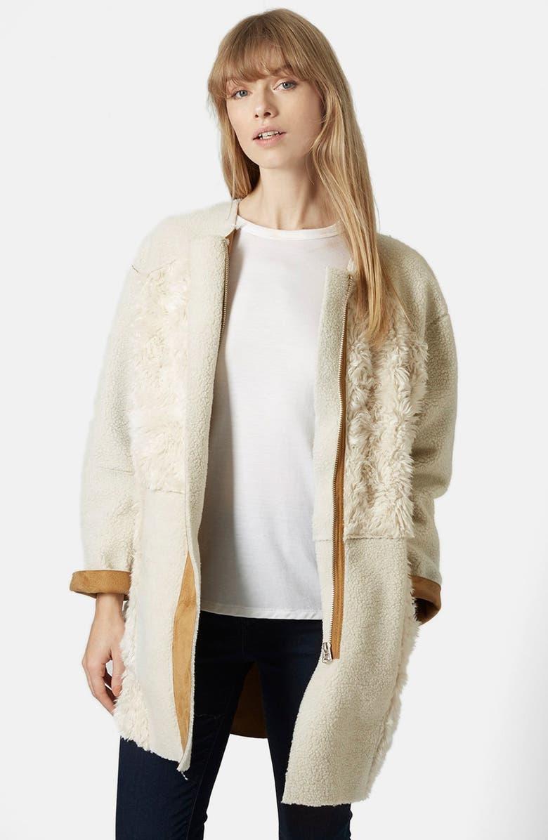 TOPSHOP Faux Fur Patchwork Longline Jacket, Main, color, 900
