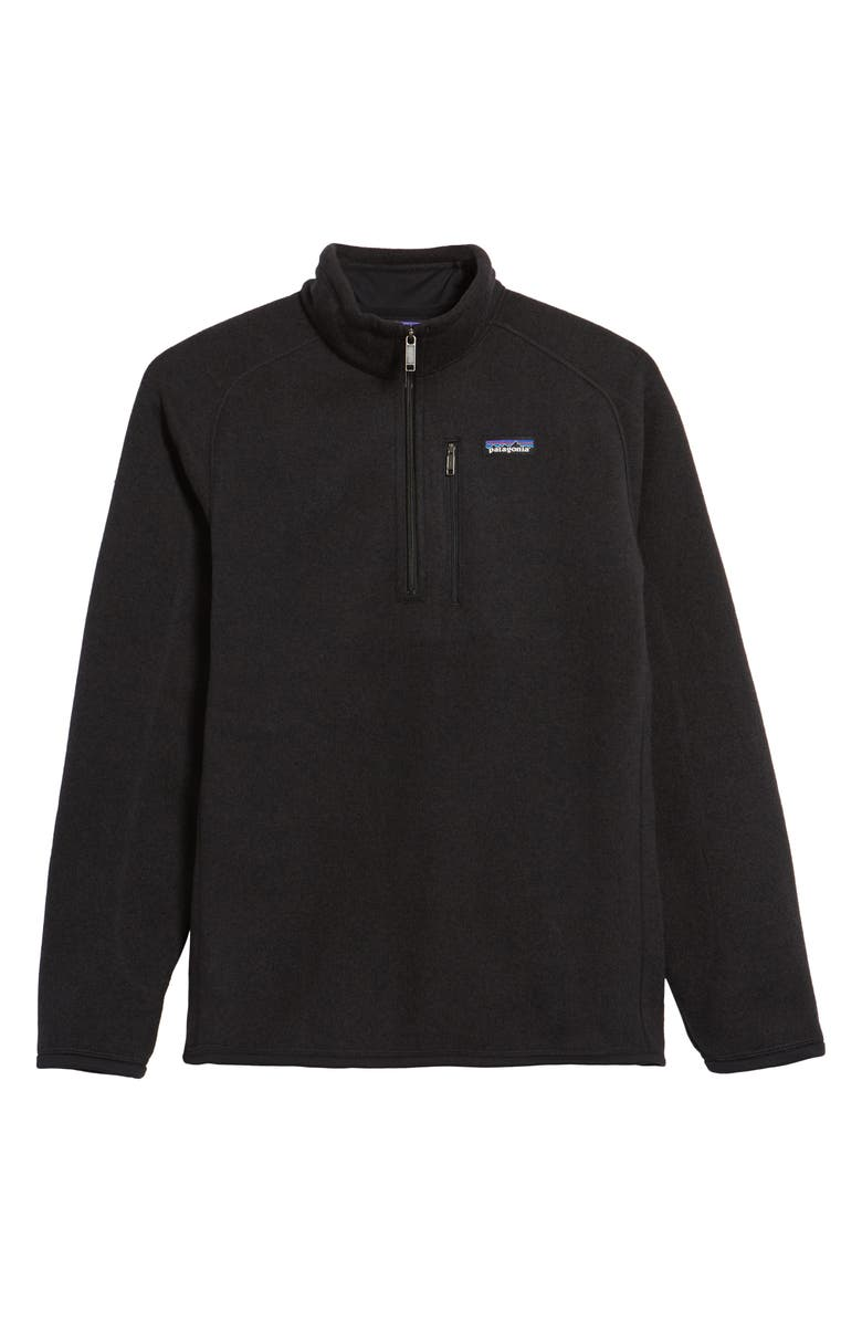 PATAGONIA Better Sweater Quarter Zip Fleece Lined Pullover, Main, color, BLACK