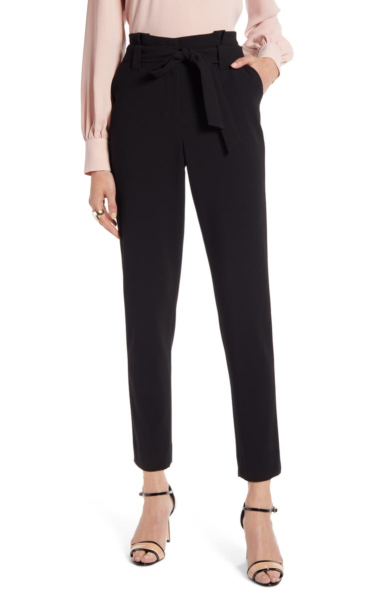 HALOGEN<SUP>®</SUP> Paperbag Waist Twill Pants, Main, color, BLACK