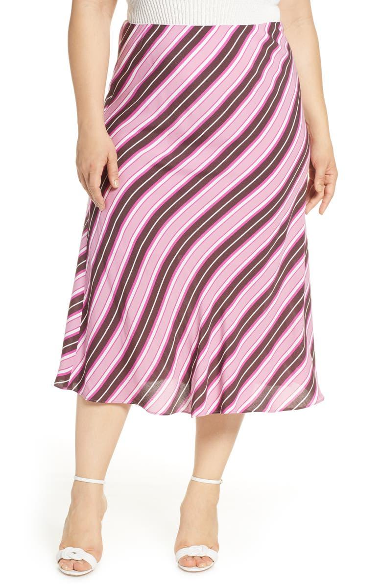 LEITH Bias Cut Midi Skirt, Main, color, BURGUNDY FUDGE SCARF STRIPE