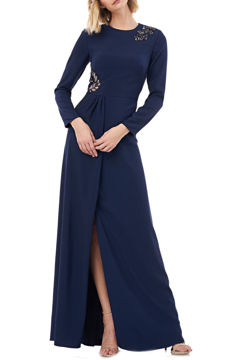 KAY UNGER Long Sleeve Stretch Crepe Gown, Main, color, NAVY
