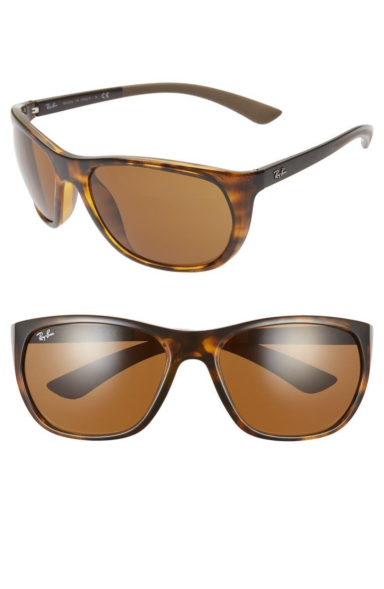 RAY-BAN 61mm Wrap Sunglasses, Main, color, HAVANA