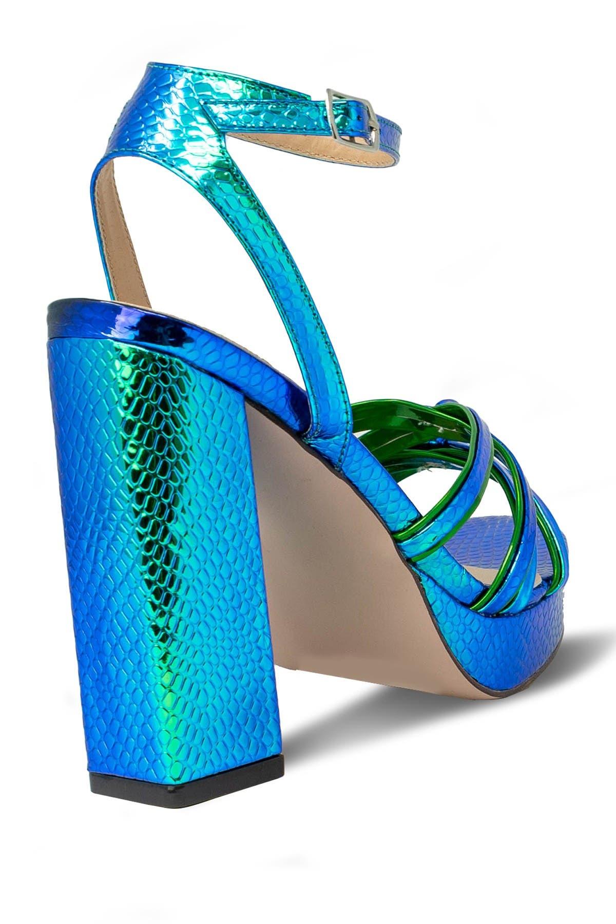 Image of Chase & Chloe Demi Mirror Snake Skin Embossed Print Platform Block Heel Sandal