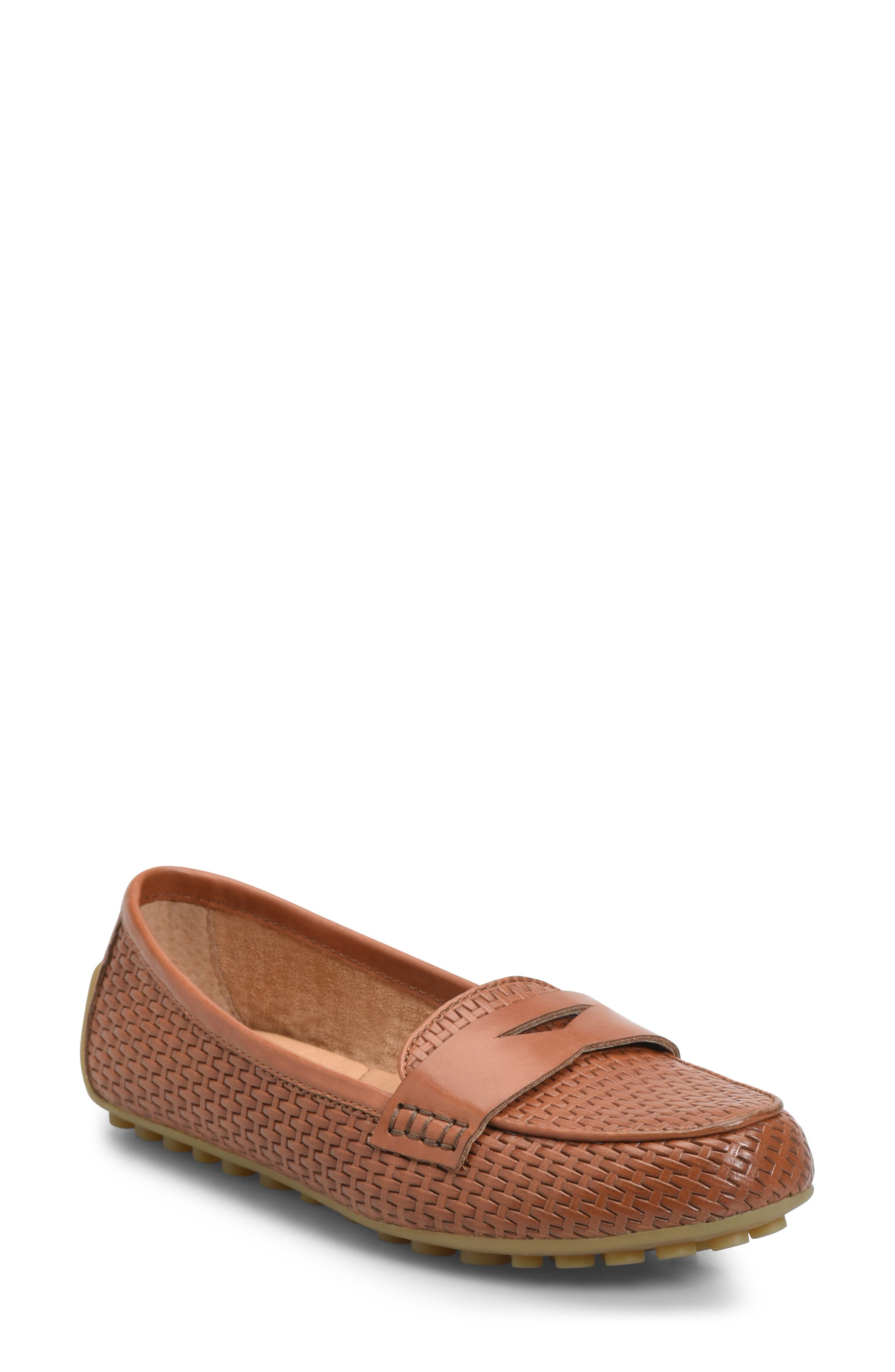 Malena Driving Loafer, Main, color, BROWN WEAVE EMBOSSED LEATHER