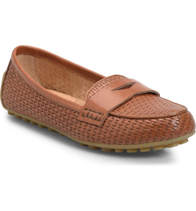 BØRN Malena Driving Loafer, Main, color, BROWN WEAVE EMBOSSED LEATHER