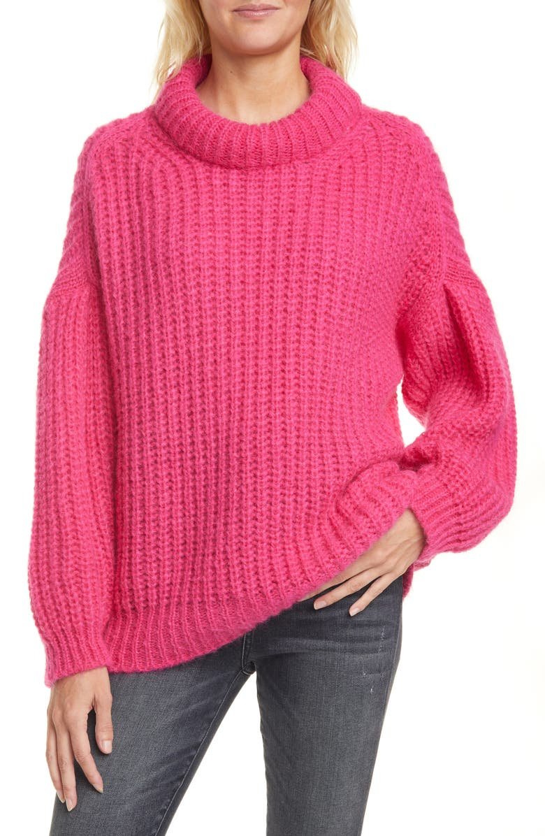 BA&SH Emma Shaker Stitch Alpaca & Mohair Blend Mock Neck Sweater, Main, color, 650