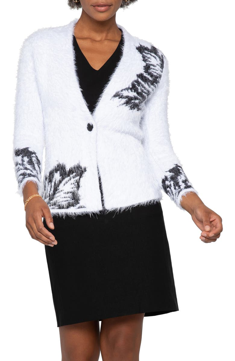 NIC+ZOE Fuzzy Florals Cardigan, Main, color, WHITE MULTI