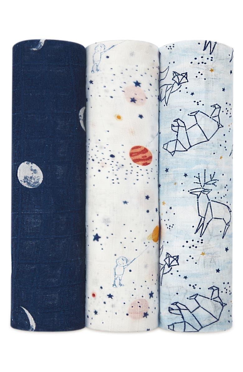 ADEN + ANAIS 3-Pack Silky Soft Swaddling Cloths, Main, color, STARGAZE