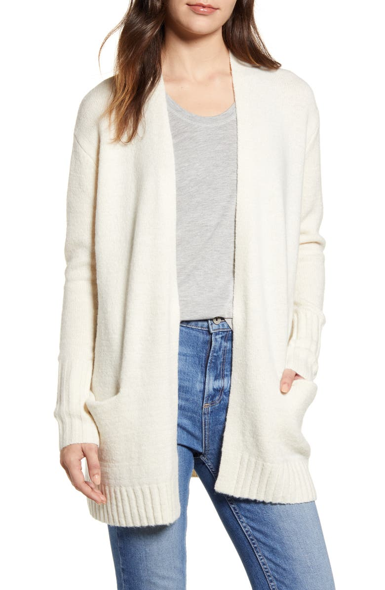 CASLON<SUP>®</SUP> Open Front Pocket Cardigan, Main, color, BEIGE OATMEAL LIGHT HEATHER
