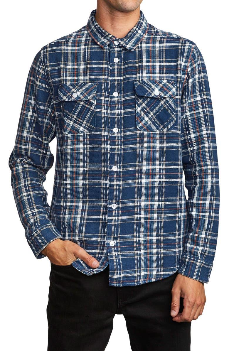 RVCA Avett Plaid Regular Fit Button-Up Twill Shirt, Main, color, NAVY
