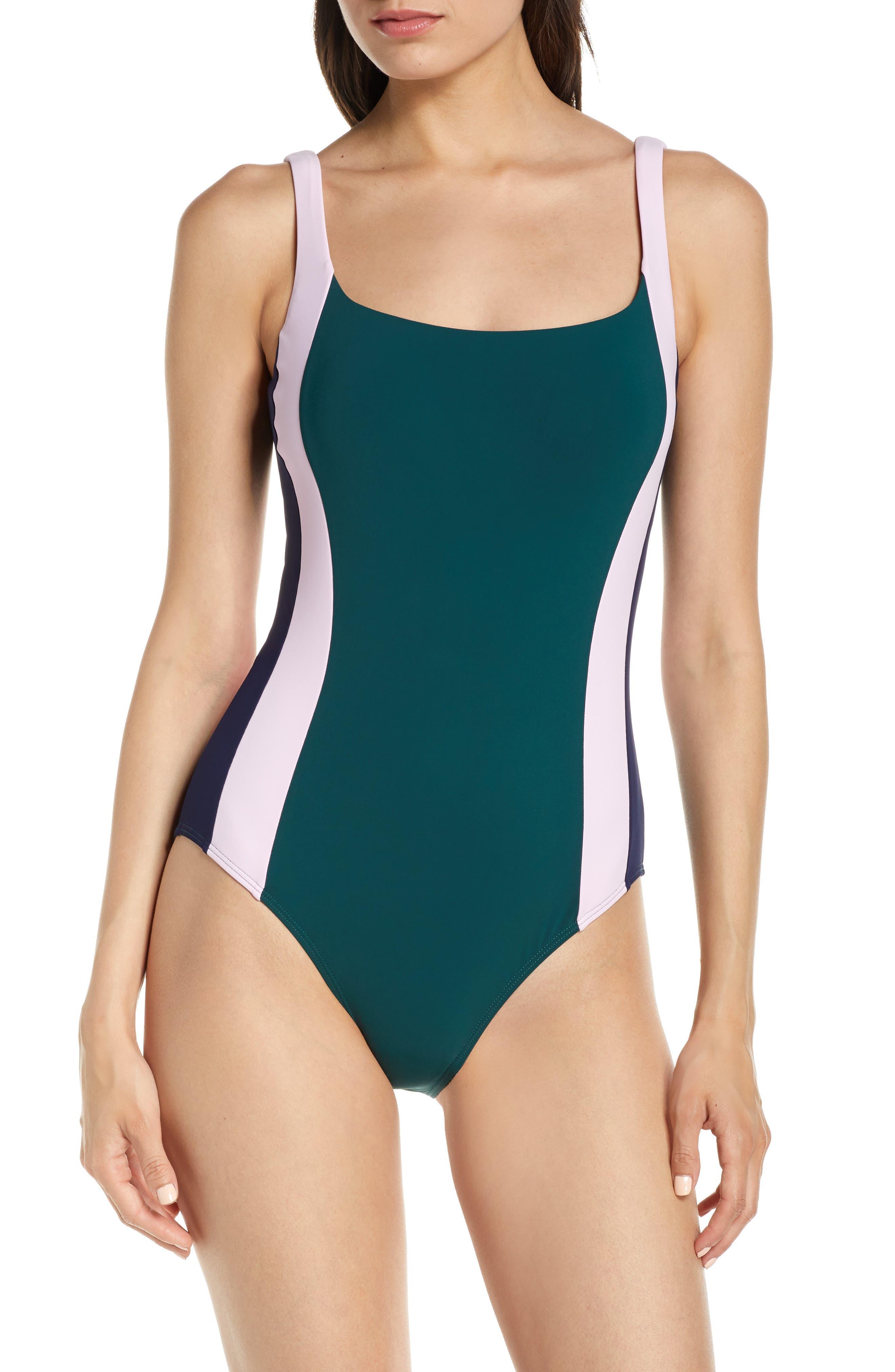 Tory Burch Colorblock Stripe One-Piece Tank Swimsuit, Green
