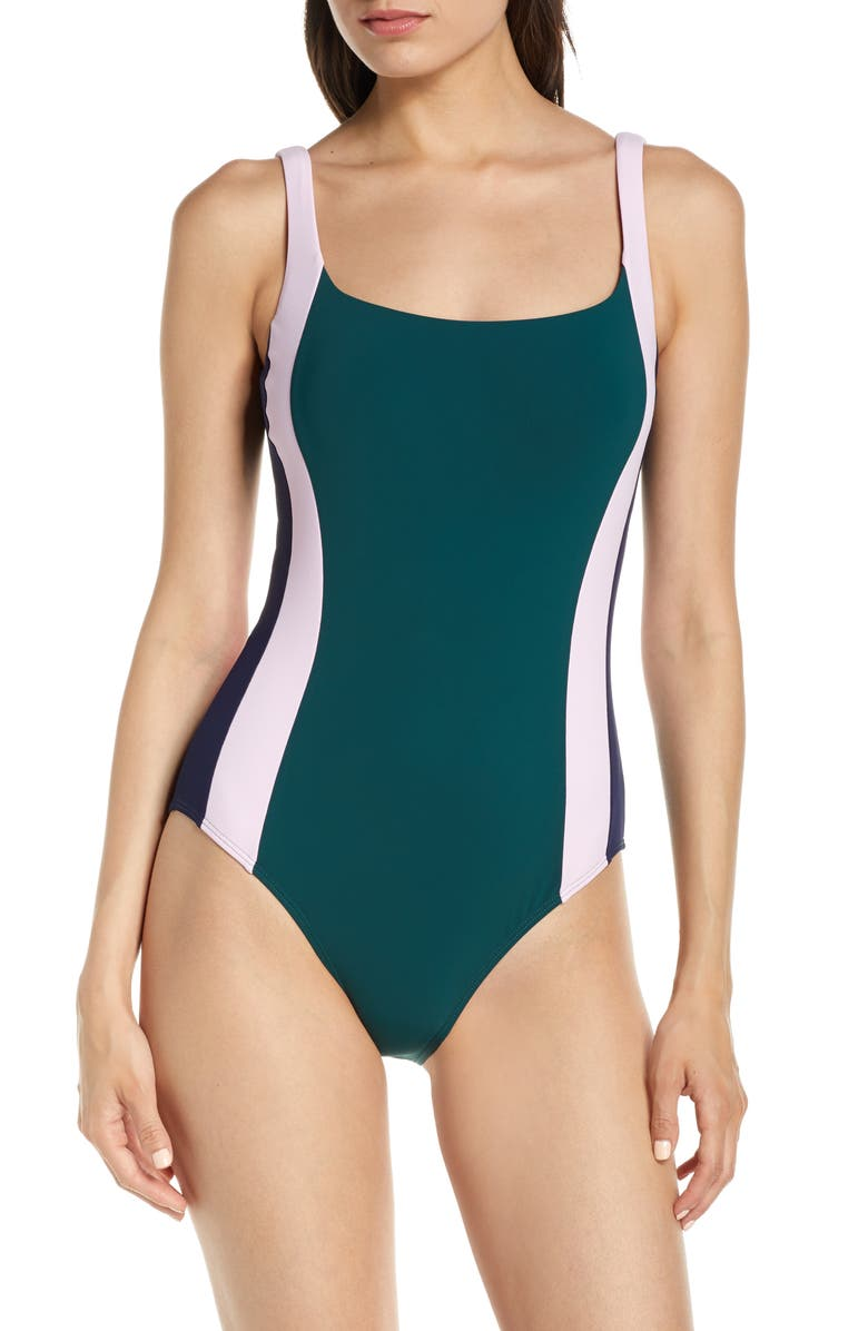 TORY BURCH Colorblock Stripe One-Piece Tank Swimsuit, Main, color, GREEN / CHOCOLATE/ TORY NAVY