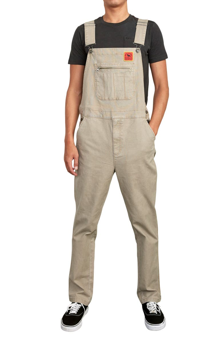 RVCA Smith Street Overalls, Main, color, DARK KHAKI