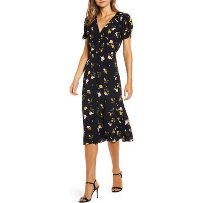 Chelsea28 Floral Ruched Sleeve Dress, Black