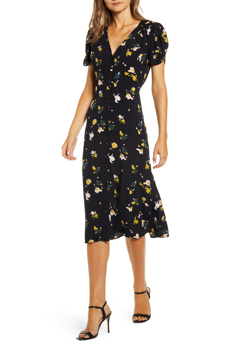 CHELSEA28 Floral Ruched Sleeve Dress, Main, color, BLACK- OLIVE MINI PRINT MIX