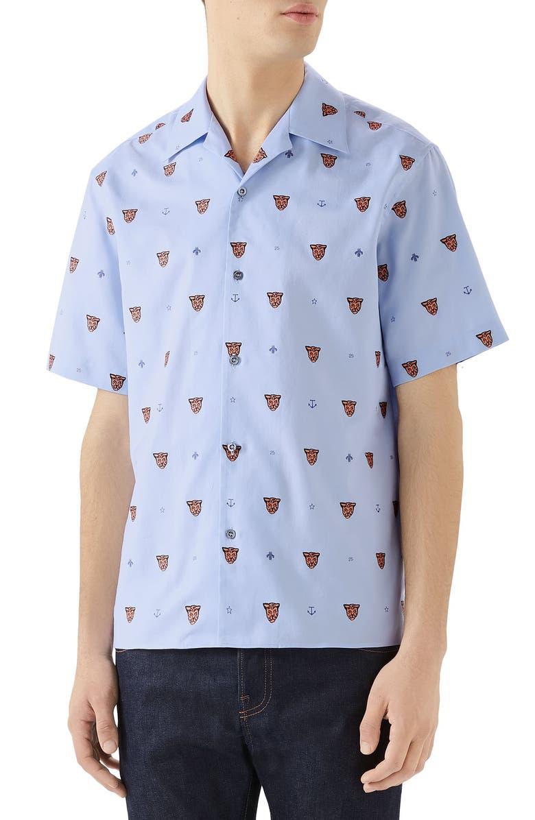 GUCCI Classic Bowling Slim Fit Shirt, Main, color, LIGHT SKY BLUE