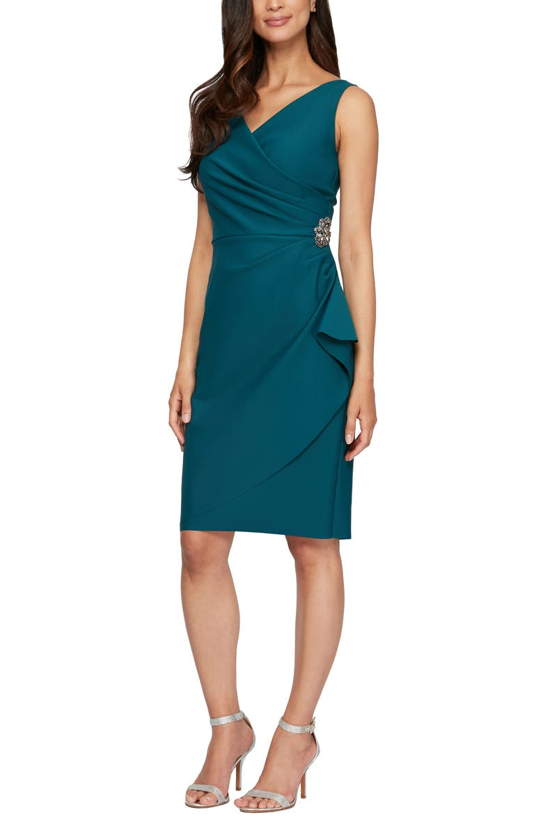 ALEX EVENINGS Side Ruched Dress, Main, color, DEEP TEAL
