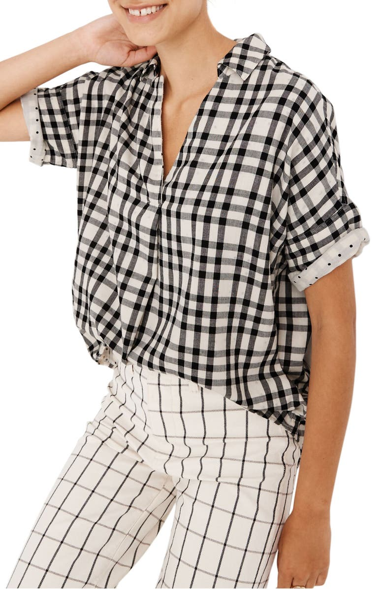 MADEWELL Courier Button-Back Shirt in Double-Faced Plaid, Main, color, 001