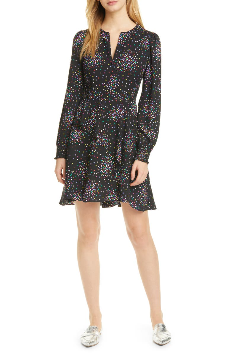 KATE SPADE NEW YORK confetti cheer long sleeve fit & flare dress, Main, color, 001
