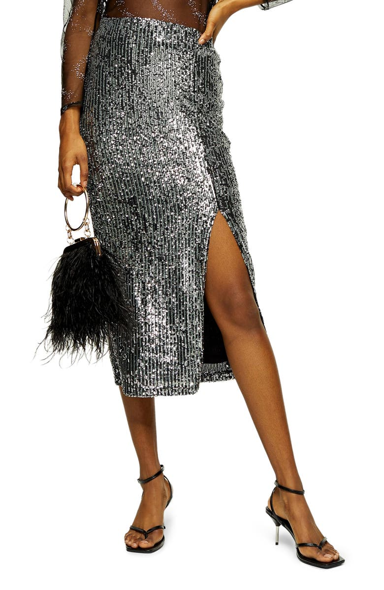 TOPSHOP Slit Sequin Midi Skirt, Main, color, SILVER