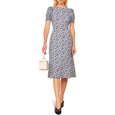 Reformation Lee Floral Puff Sleeve Dress, Blue