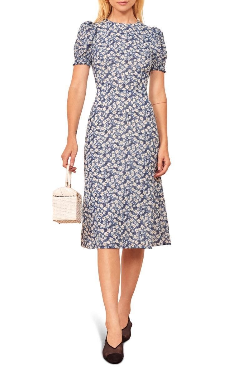 REFORMATION Lee Floral Puff Sleeve Dress, Main, color, RAQUEL