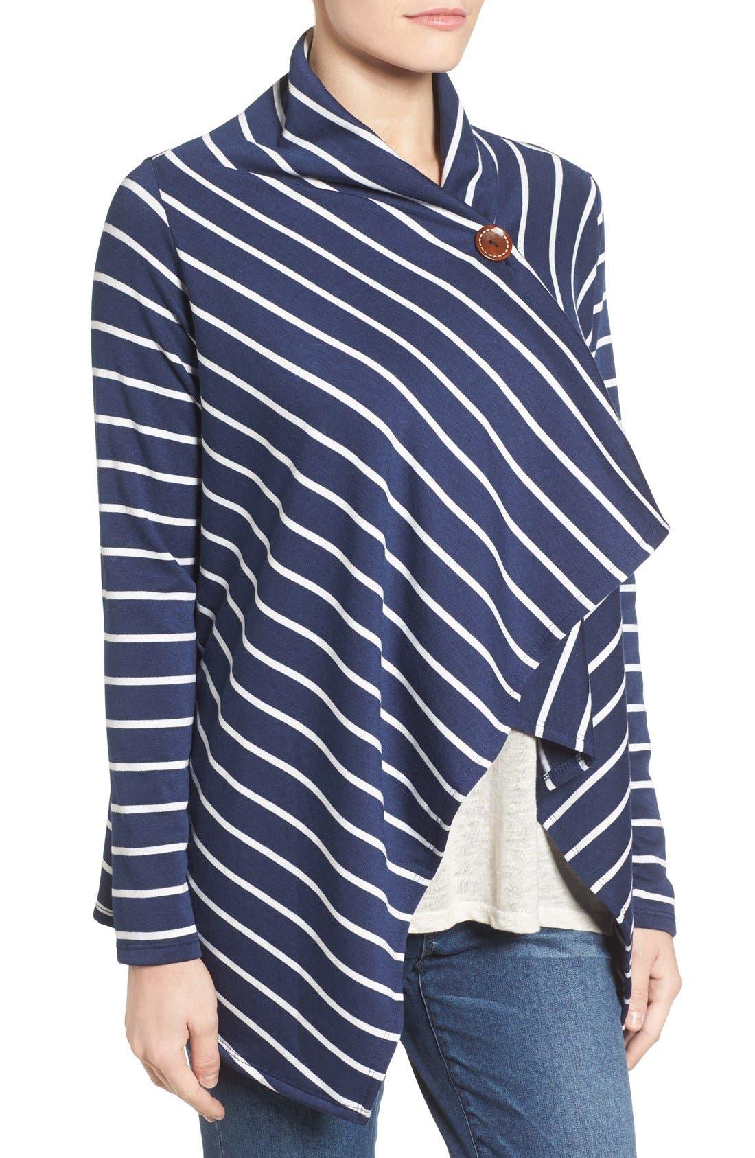 ,                             One-Button Fleece Wrap Cardigan,                             Alternate thumbnail 122, color,                             420