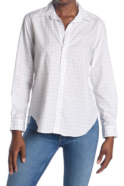 Image of FRANK & EILEEN Frank Windowpane Print Tailored Fit Tunic Shirt