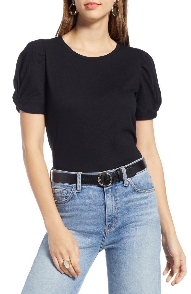 HALOGEN<SUP>®</SUP> Twisted Puff Sleeve Tee, Main, color, 001