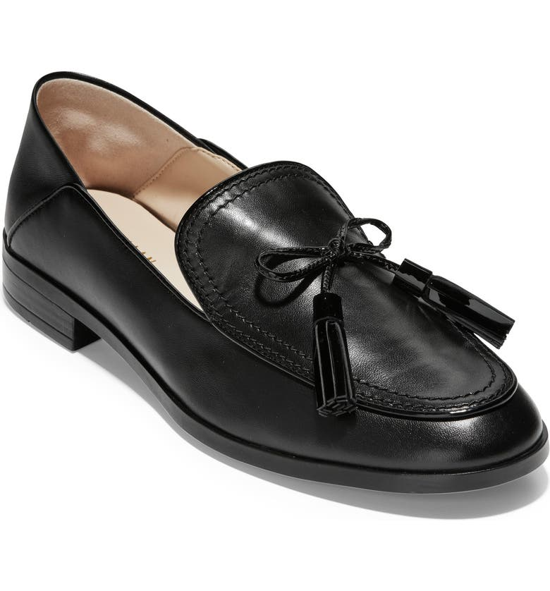 COLE HAAN Pinch Tassel Loafer, Main, color, BLACK LEATHER