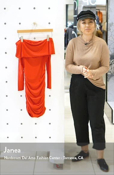 Move Over Off the Shoulder Long Sleeve Body-Con Dress, sales video thumbnail
