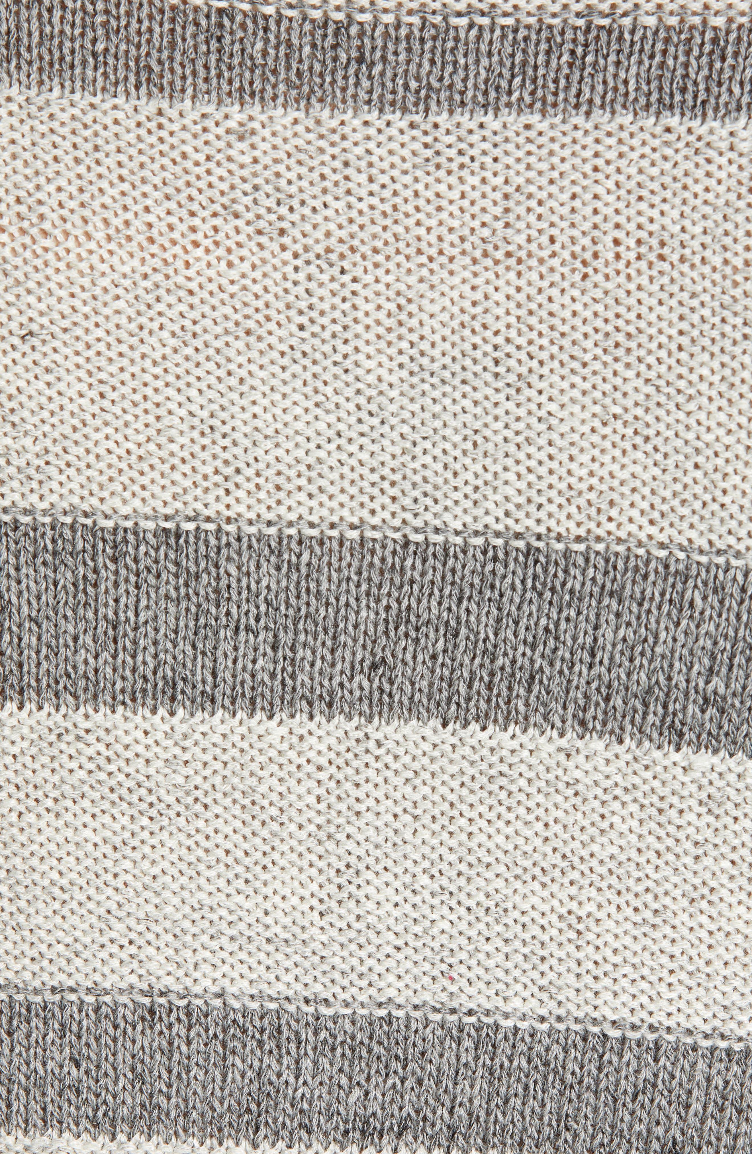 ,                             Gilpin Stripe Linen Blend Crewneck Sweater,                             Alternate thumbnail 5, color,                             LIGHT GREY MELANGE STRIPE