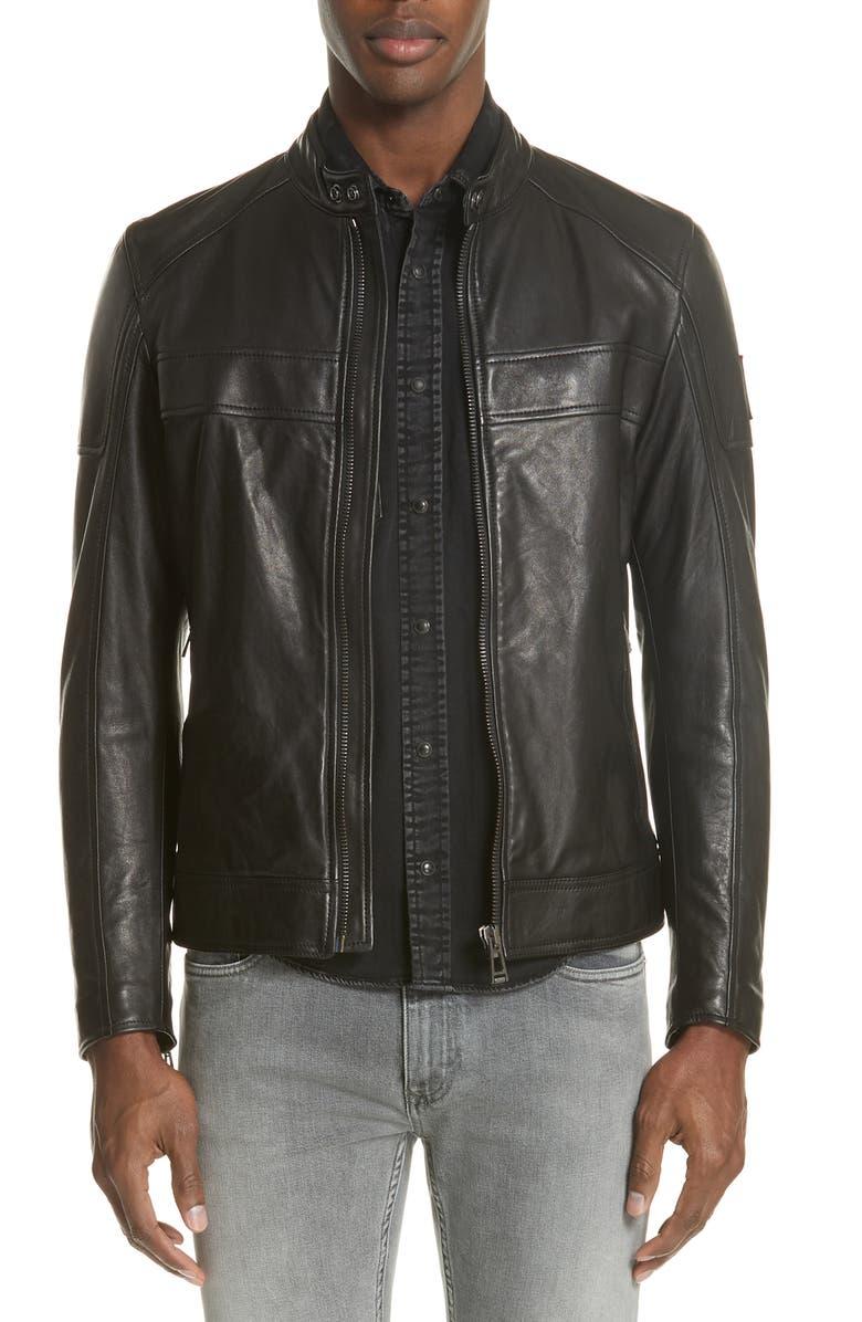 BELSTAFF A Racer Leather Moto Jacket, Main, color, 001