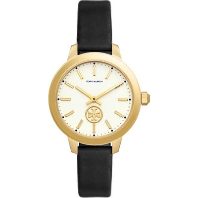 Tory Burch Collins Leather Strap Watch,