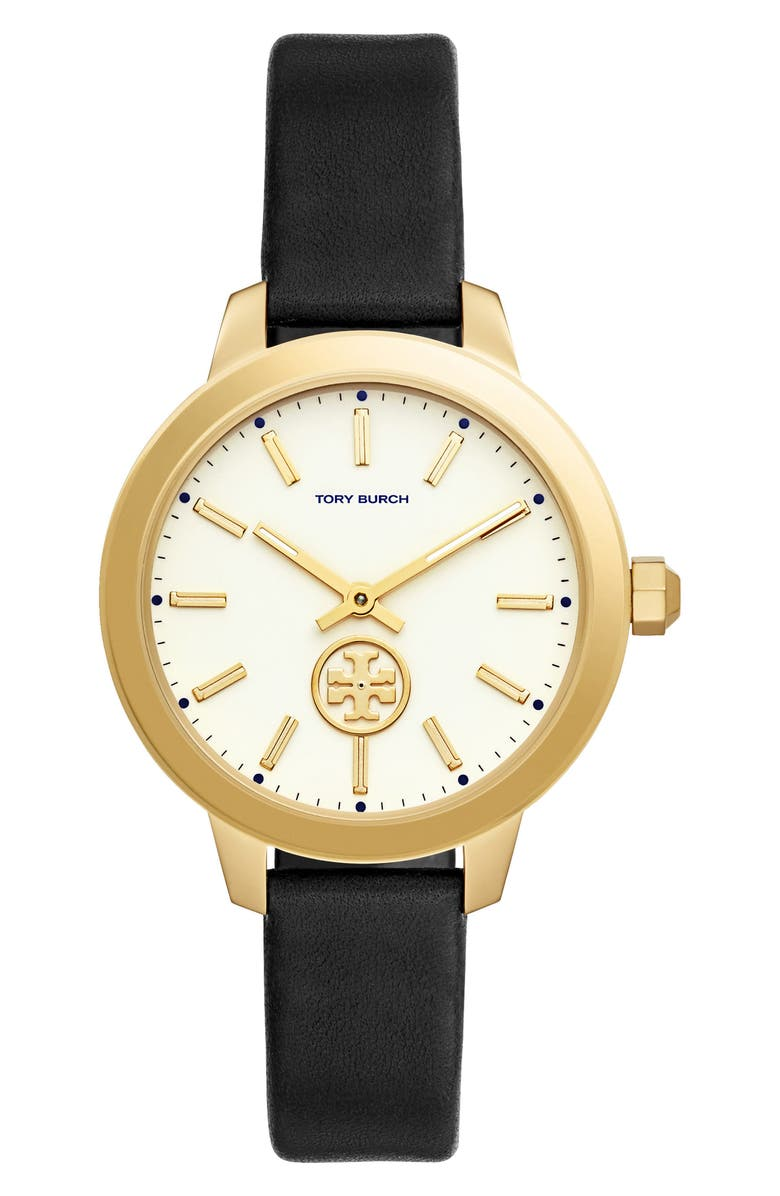 TORY BURCH Collins Leather Strap Watch, 38mm, Main, color, 001