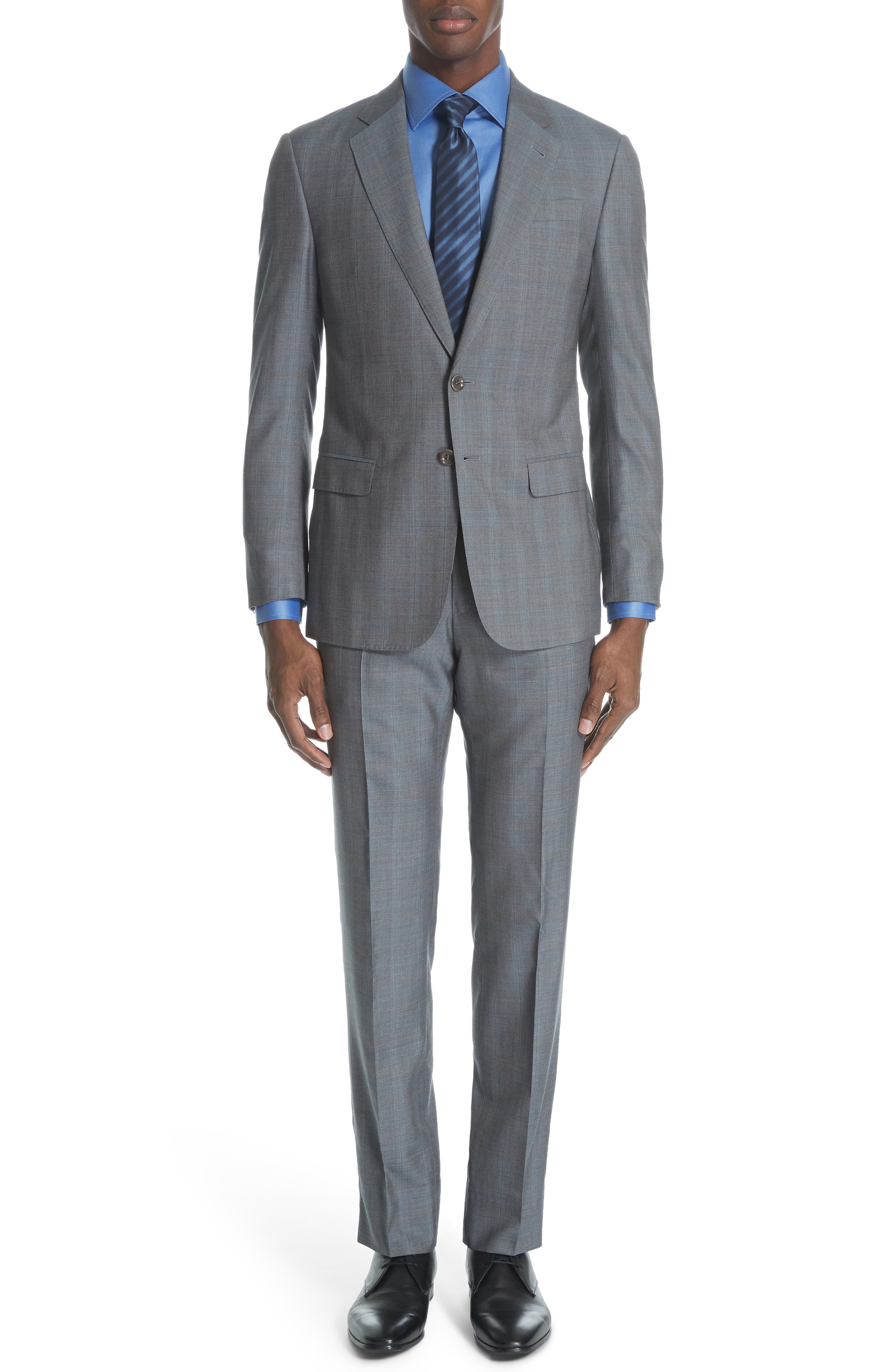 ,                             Classic Fit Plaid Wool & Silk Suit,                             Main thumbnail 1, color,                             GREY