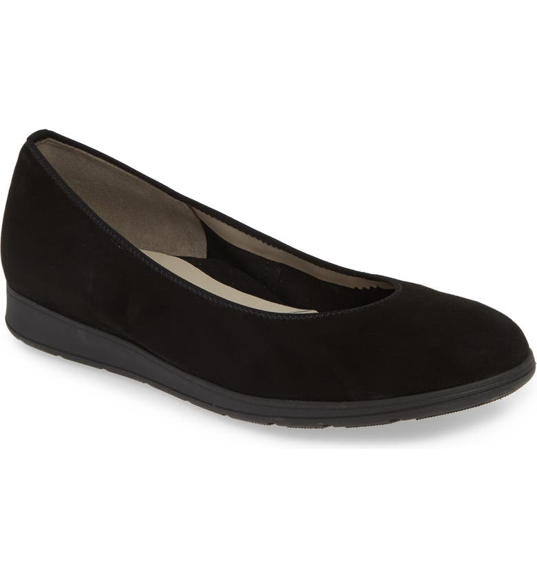 ARA Shanice Flat, Main, color, BLACK SUEDE