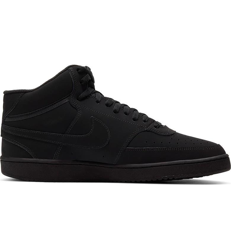 NIKE Court Vision Mid Sneaker, Main, color, BLACK/ BLACK