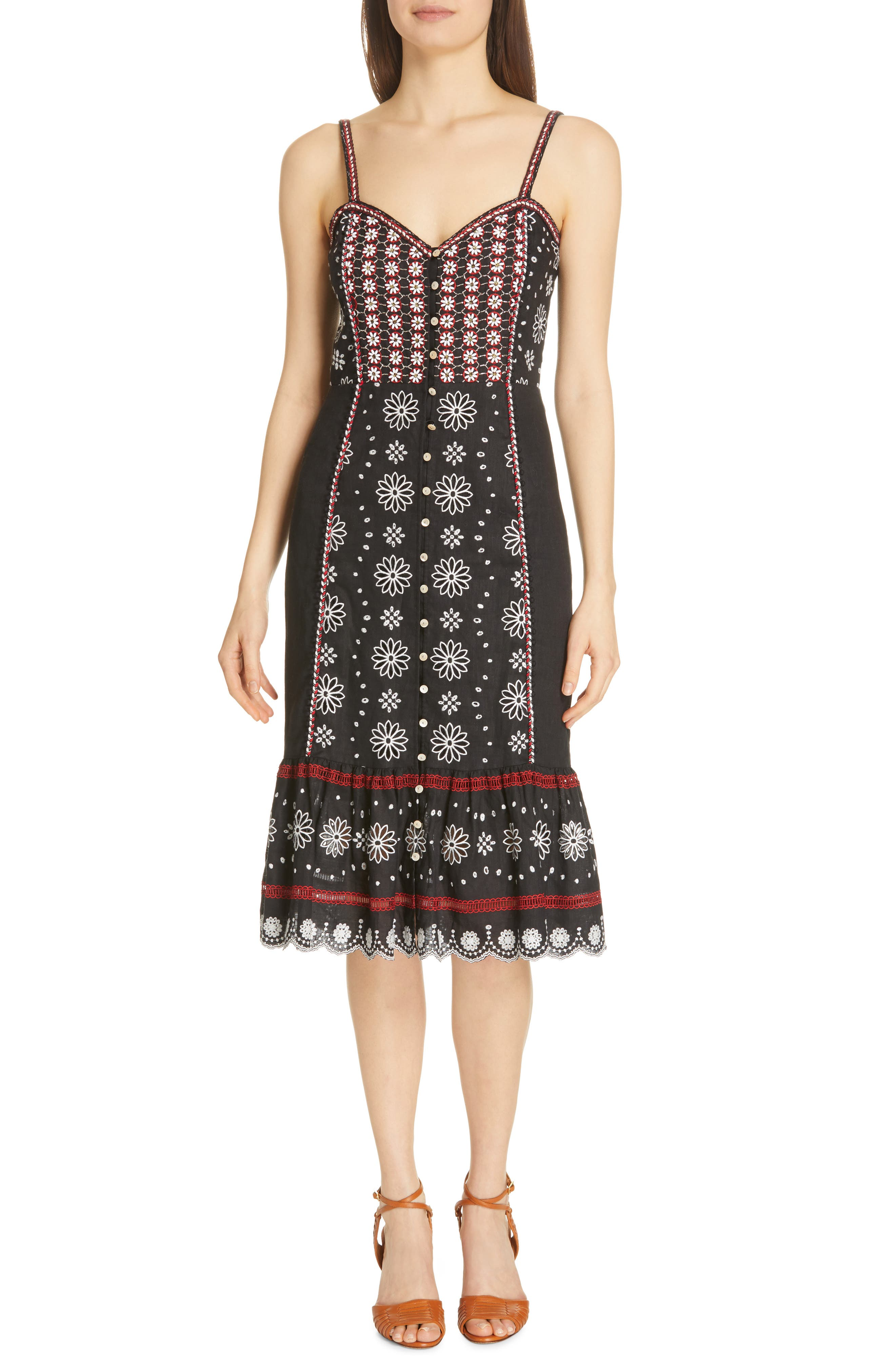 Veronica Beard Giuliana Beaded Linen Dress, Black