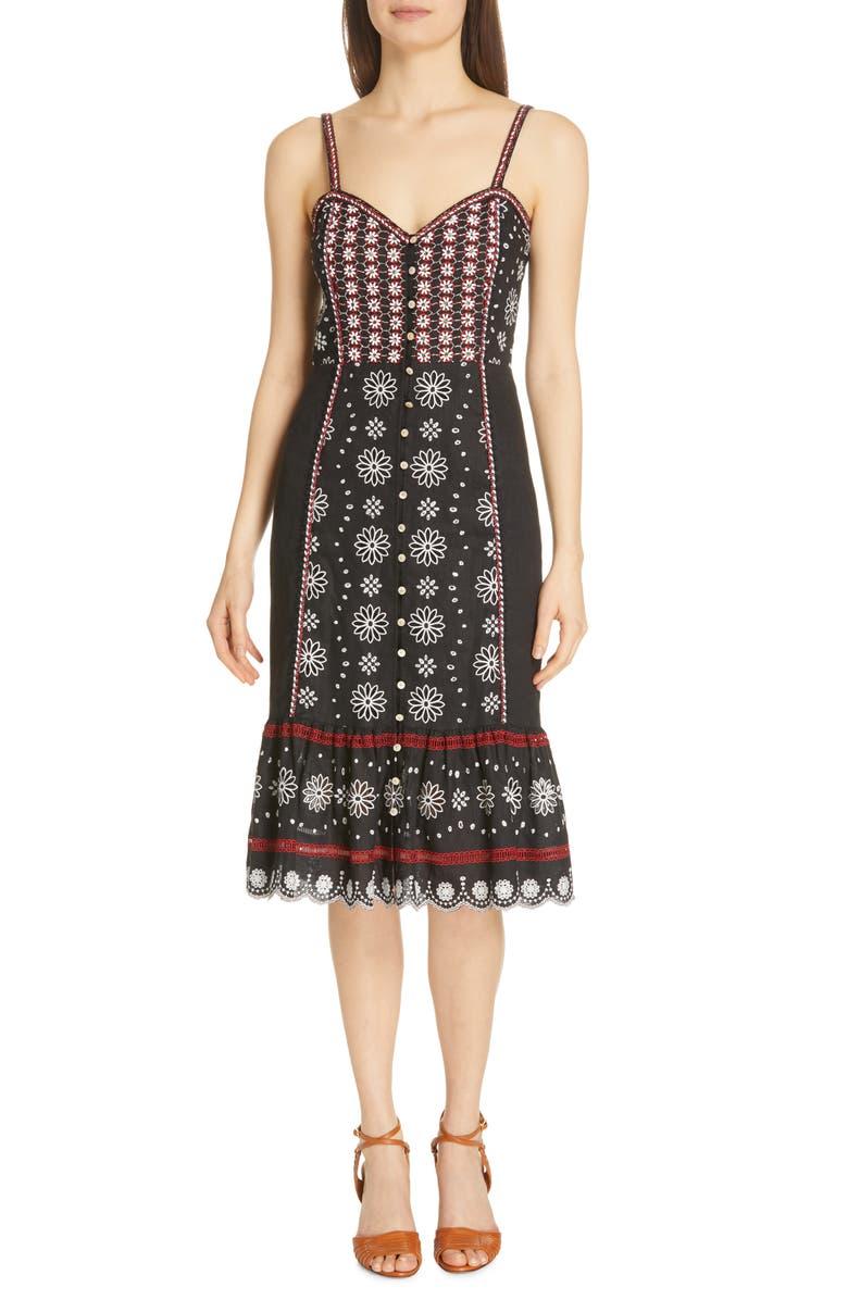 VERONICA BEARD Giuliana Beaded Linen Dress, Main, color, 001