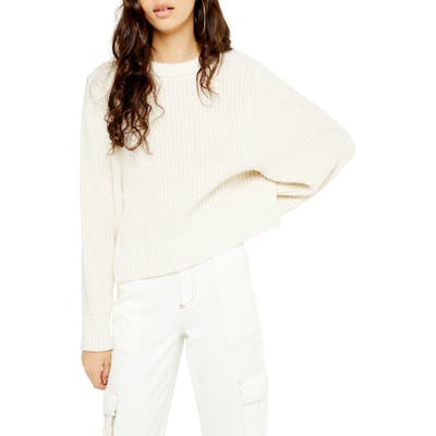 Topshop Rib Knit Sweater, Ivory