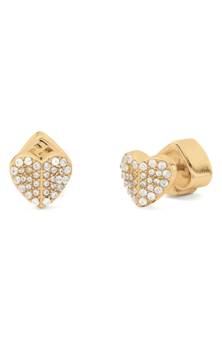KATE SPADE NEW YORK heart to heart mini pavé stud earrings, Main, color, CLEAR/ GOLD